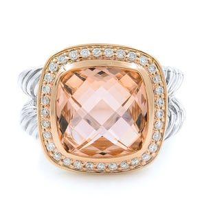 David Yurman Morganite Albion Diamond Ring SZ 7.5